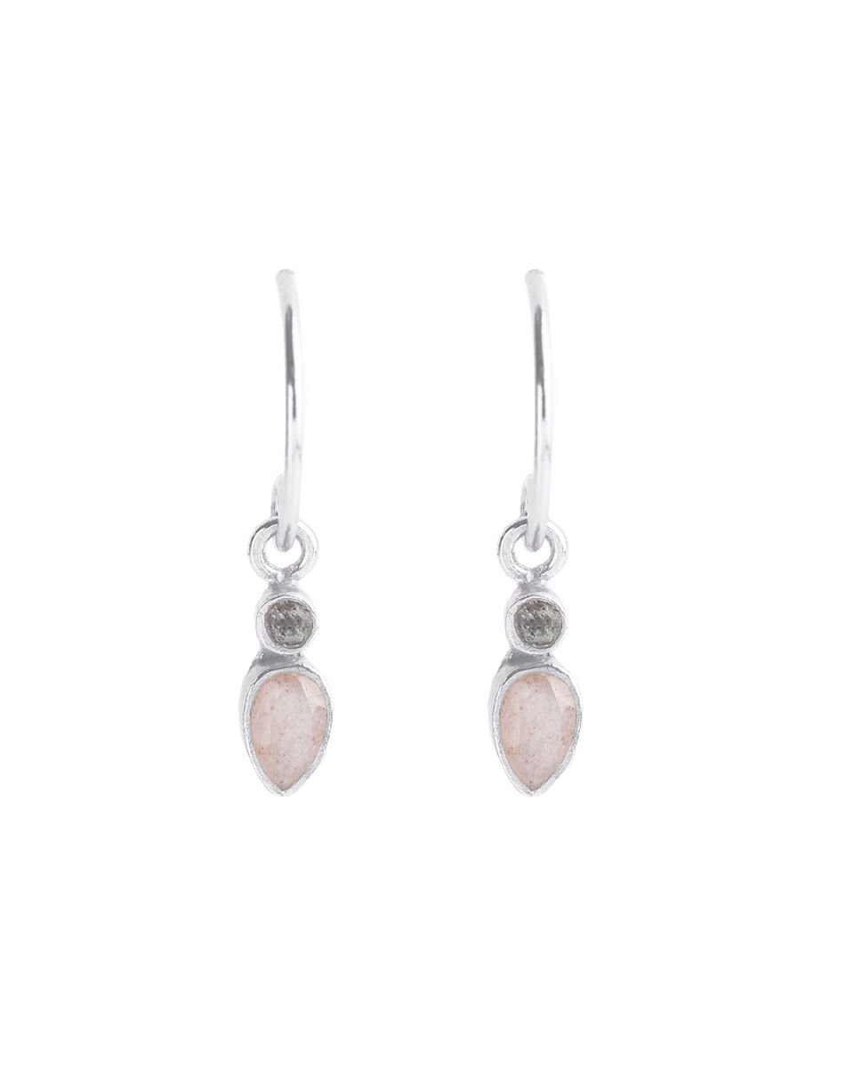 e earring stud drop 2mm labradorite peach moonstone