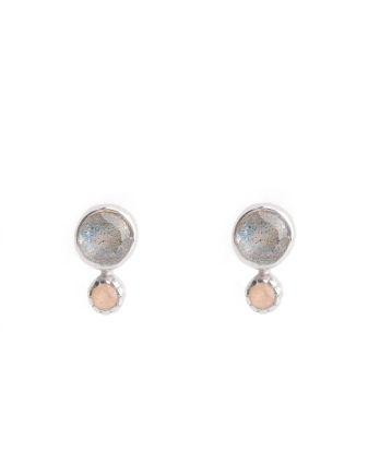 E- earring stud labradorite / peach moonstone