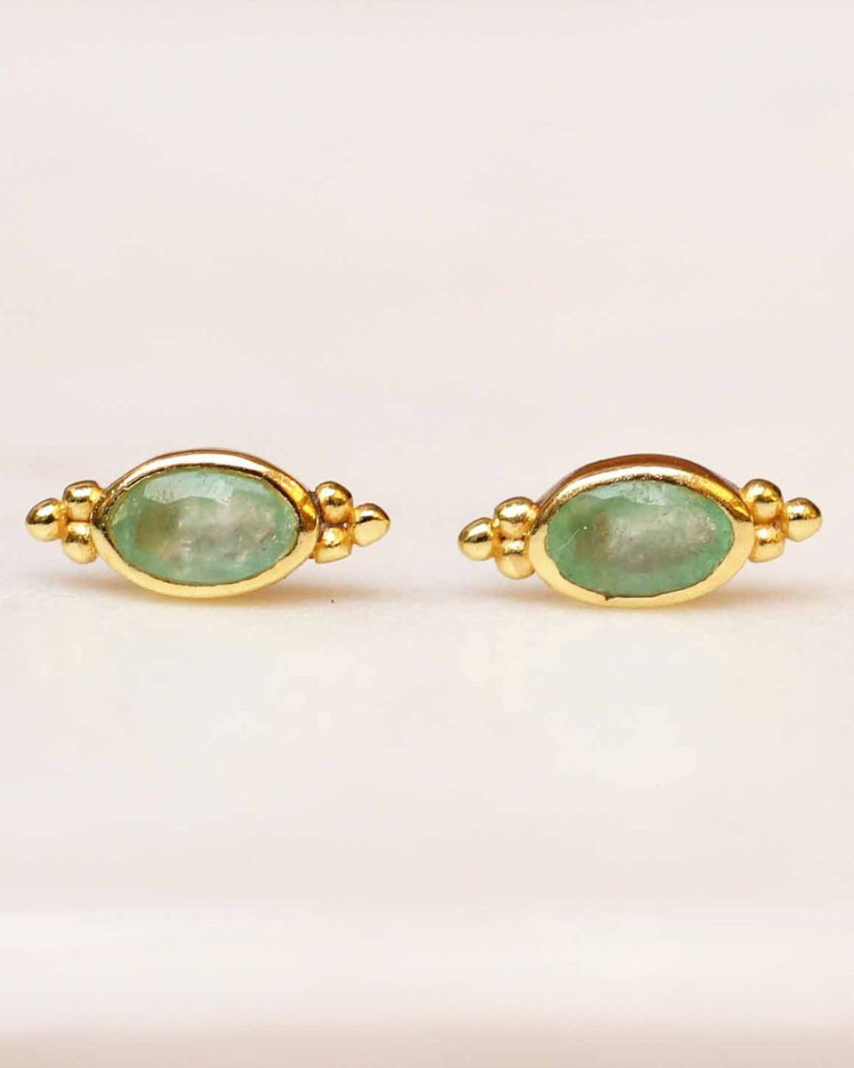 e earring stud oval dots nefrite gold plated