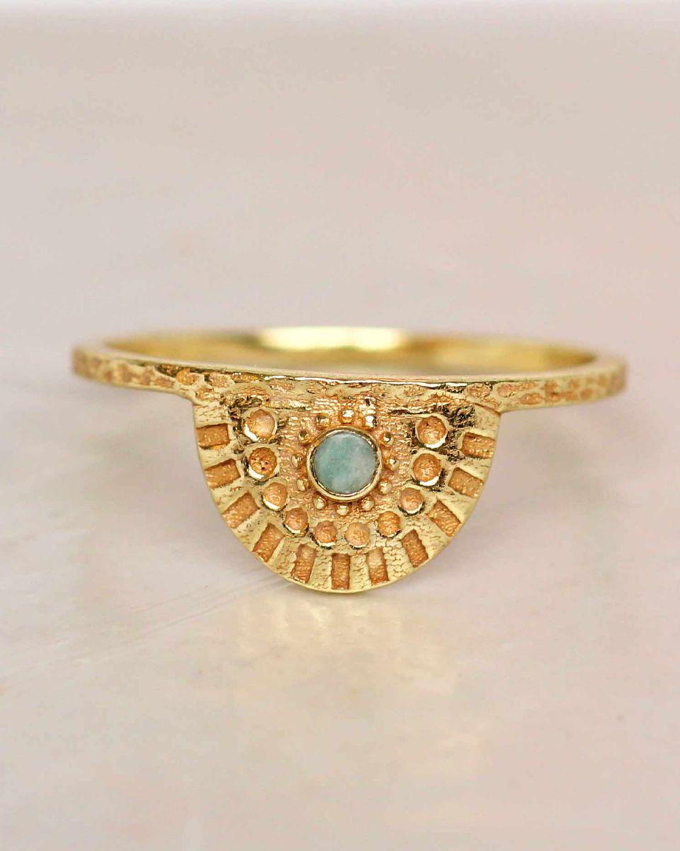 e ring size 52 amazonite half cirkel gold plated