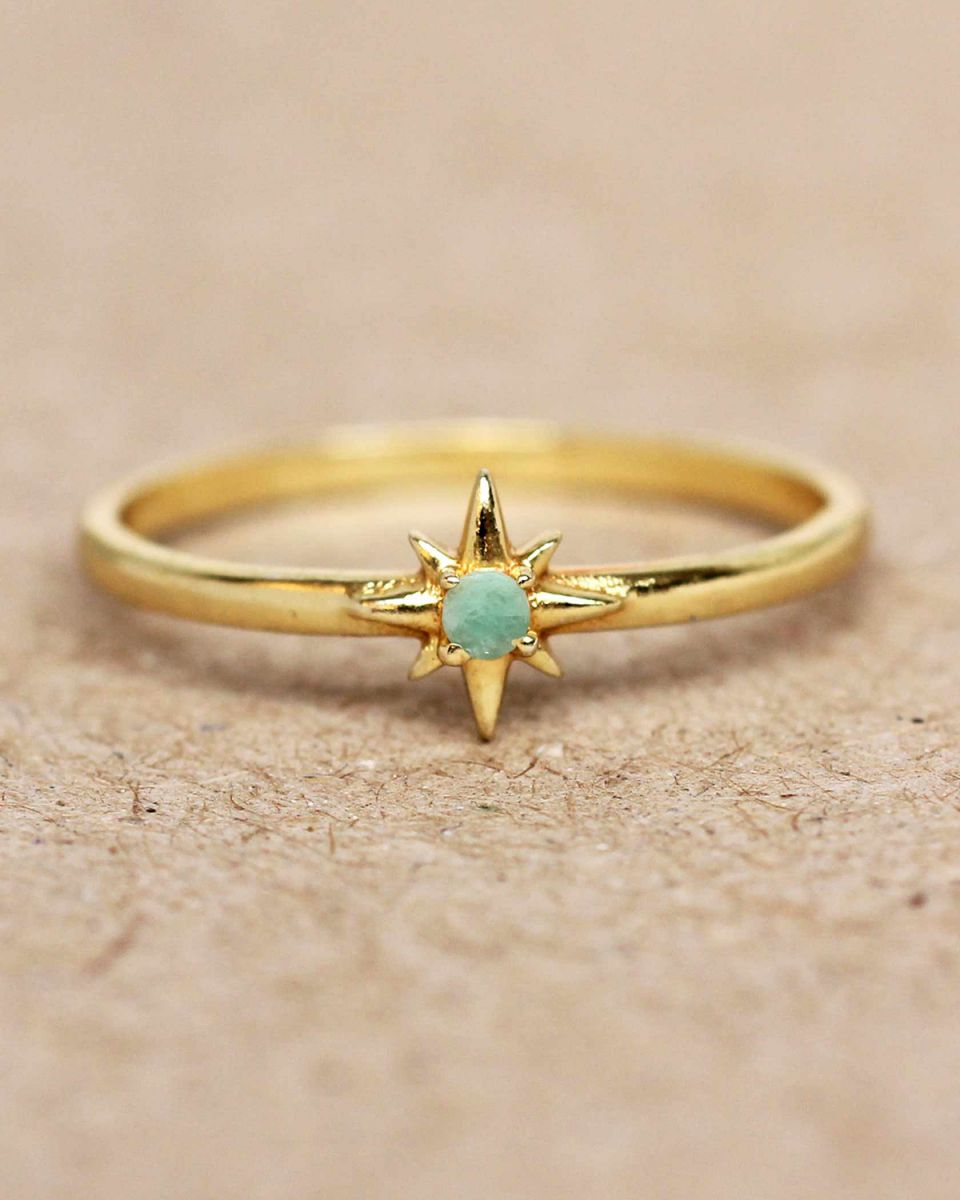 e ring size 52 amazonite star gold plated