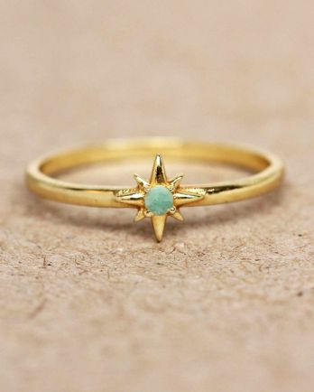 E- ring size 52 amazonite star gold plated