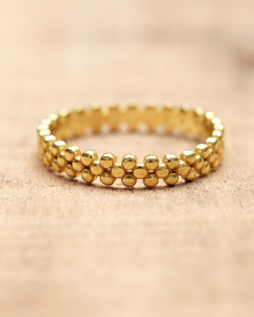 e ring size 52 flat dots gold plated