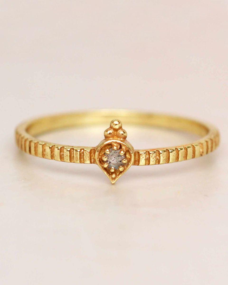 e ring size 52 labradorite etnic drop striped gold plated