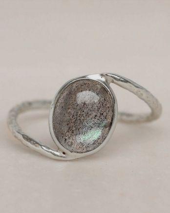 E- ring size 52 labradorite oval stone wavy band
