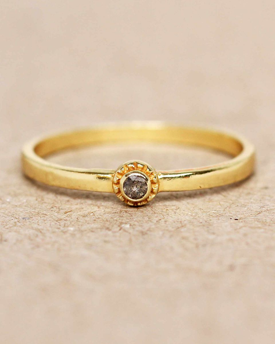 e ring size 52 labradorite round with stone gold plated