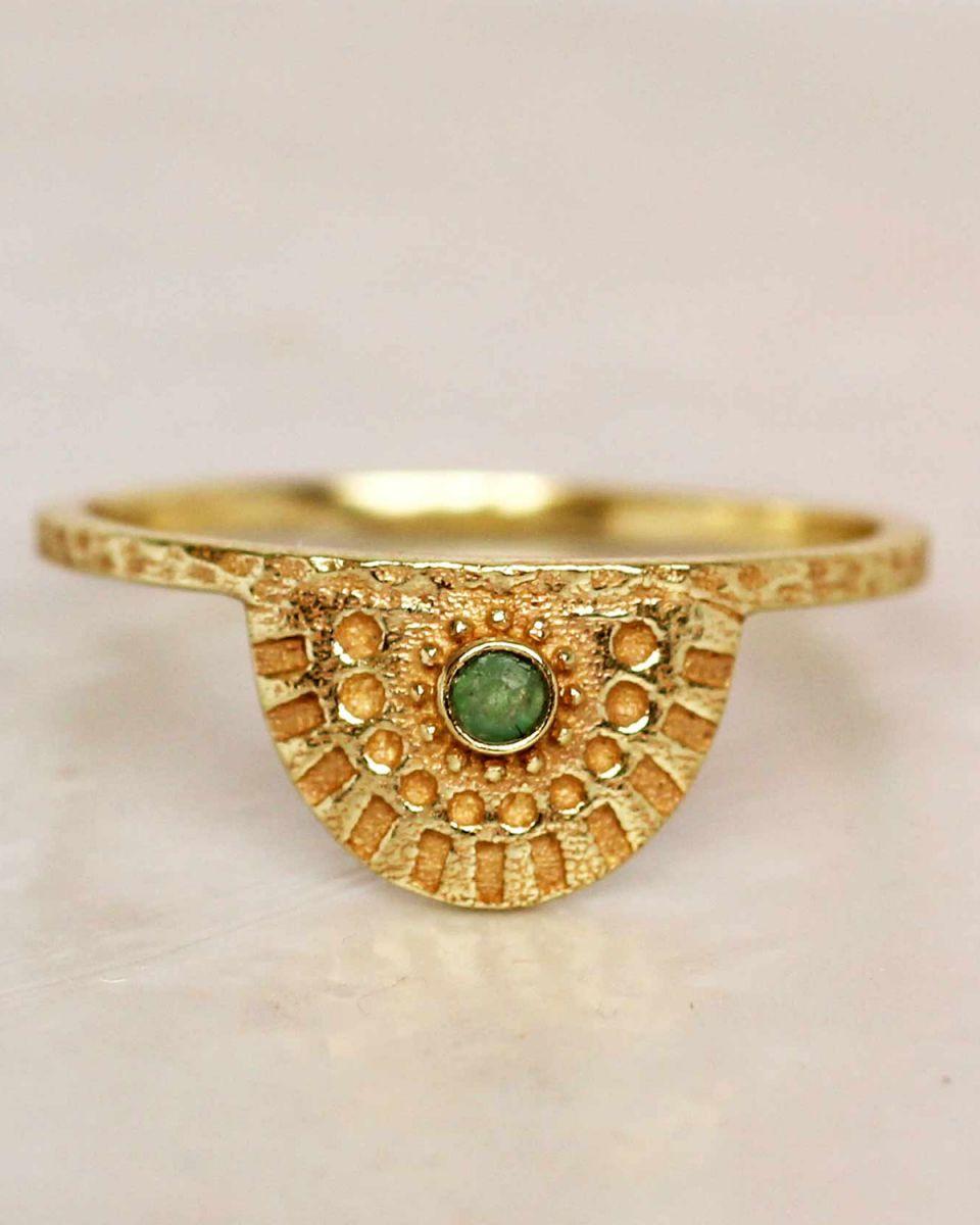 e ring size 52 nefrite half cirkel gold plated