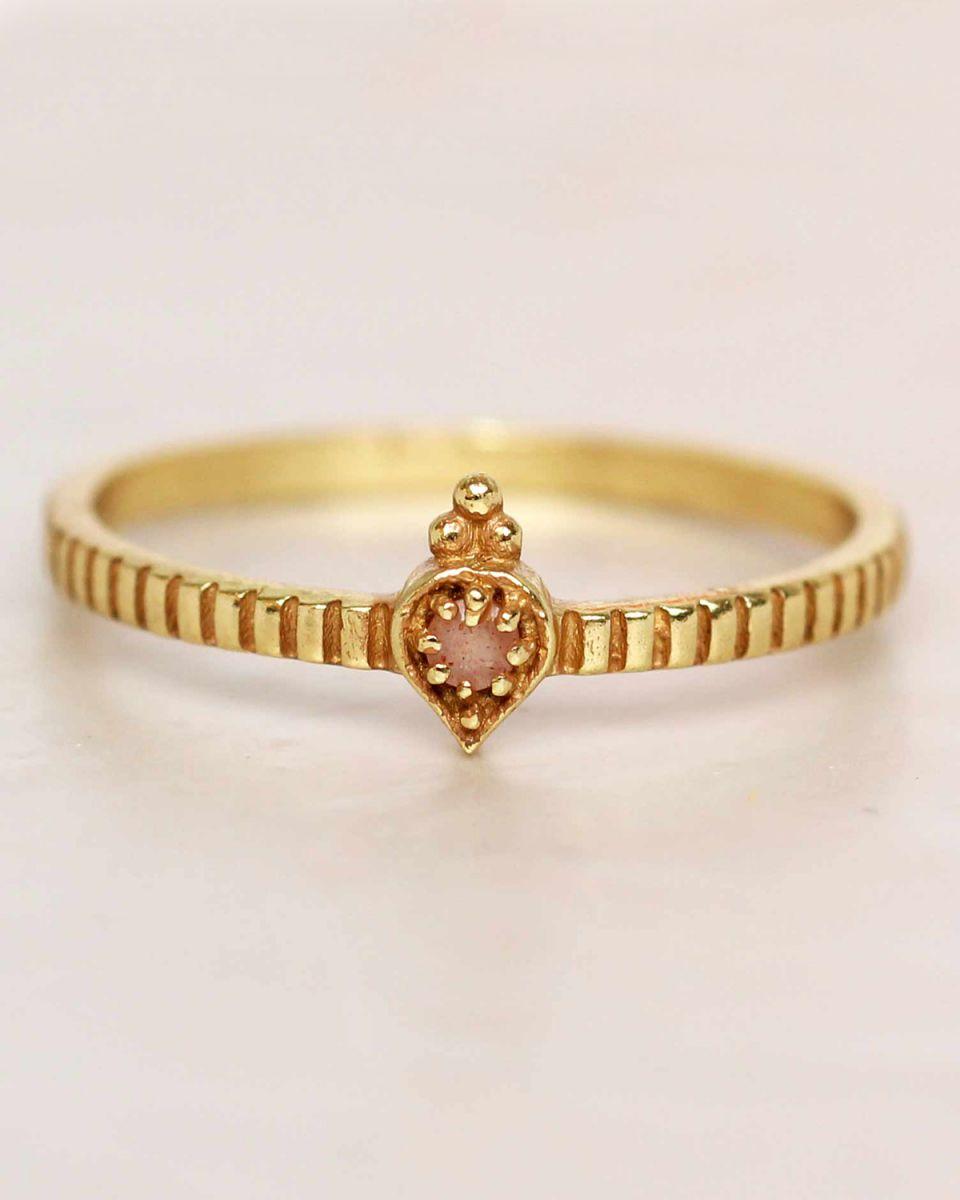 e ring size 52 peach moonstone etnic drop striped gold plat