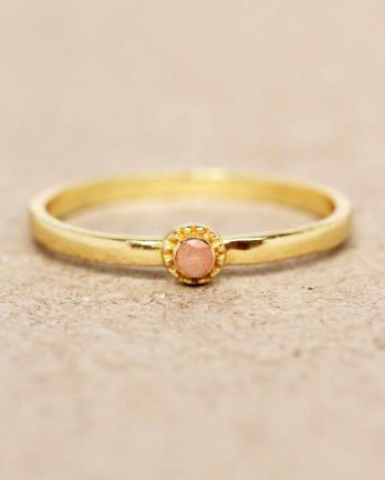 E- ring size 52 peach moonstone round with stone gold plated