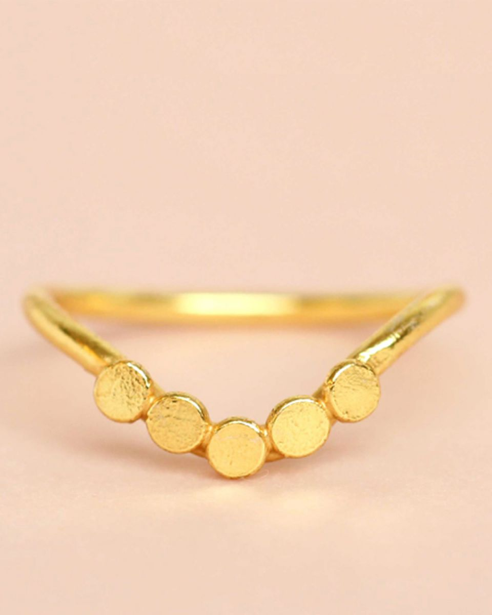 e ring size 52 vshape 5 coins gold plated