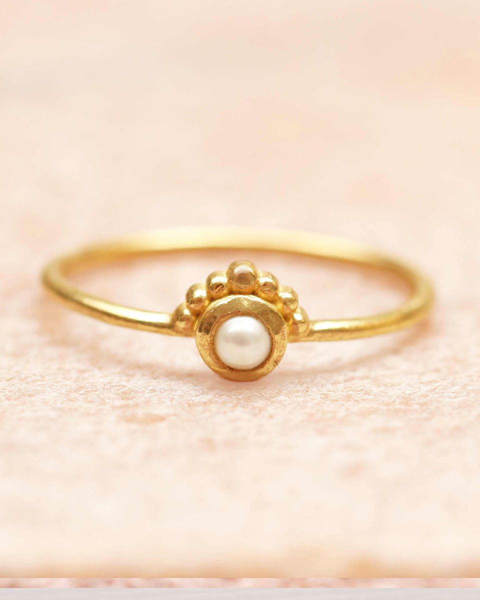 e ring size 54 3mm pearl etnic gold plated