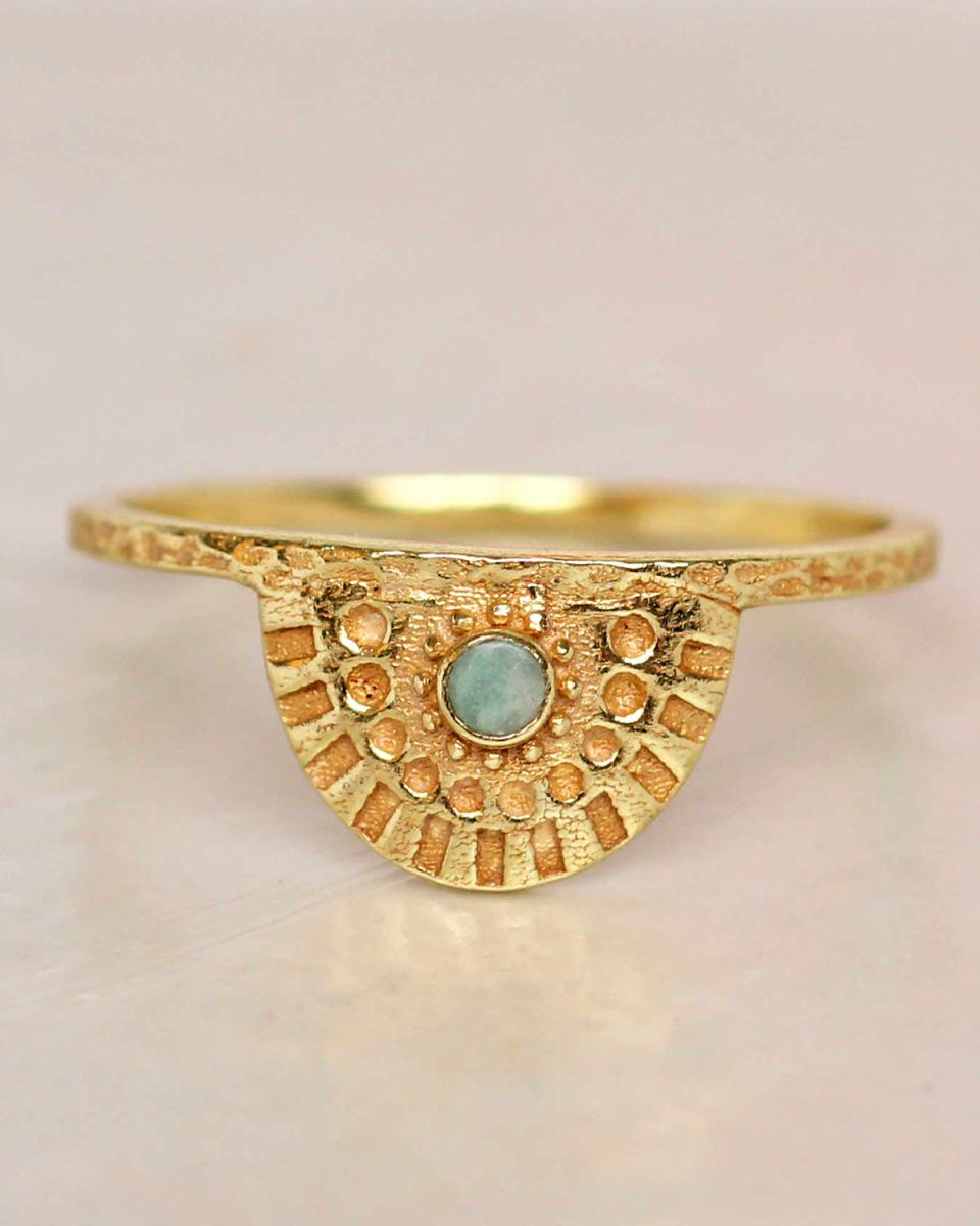 e ring size 54 amazonite half cirkel gold plated