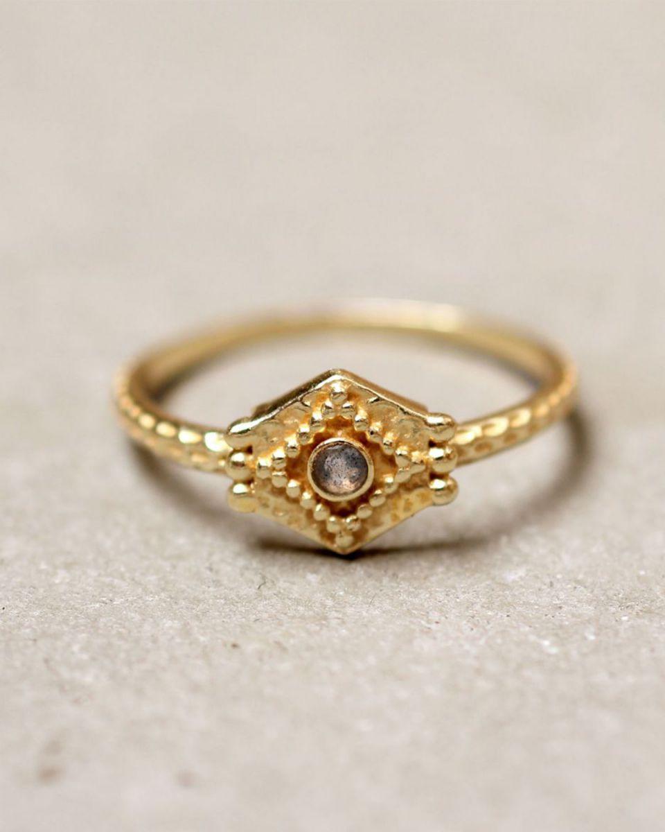 e ring size 54 etnic hexagon labradorite gold plated