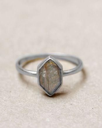 E- ring size 54 fancy diamant labradorite