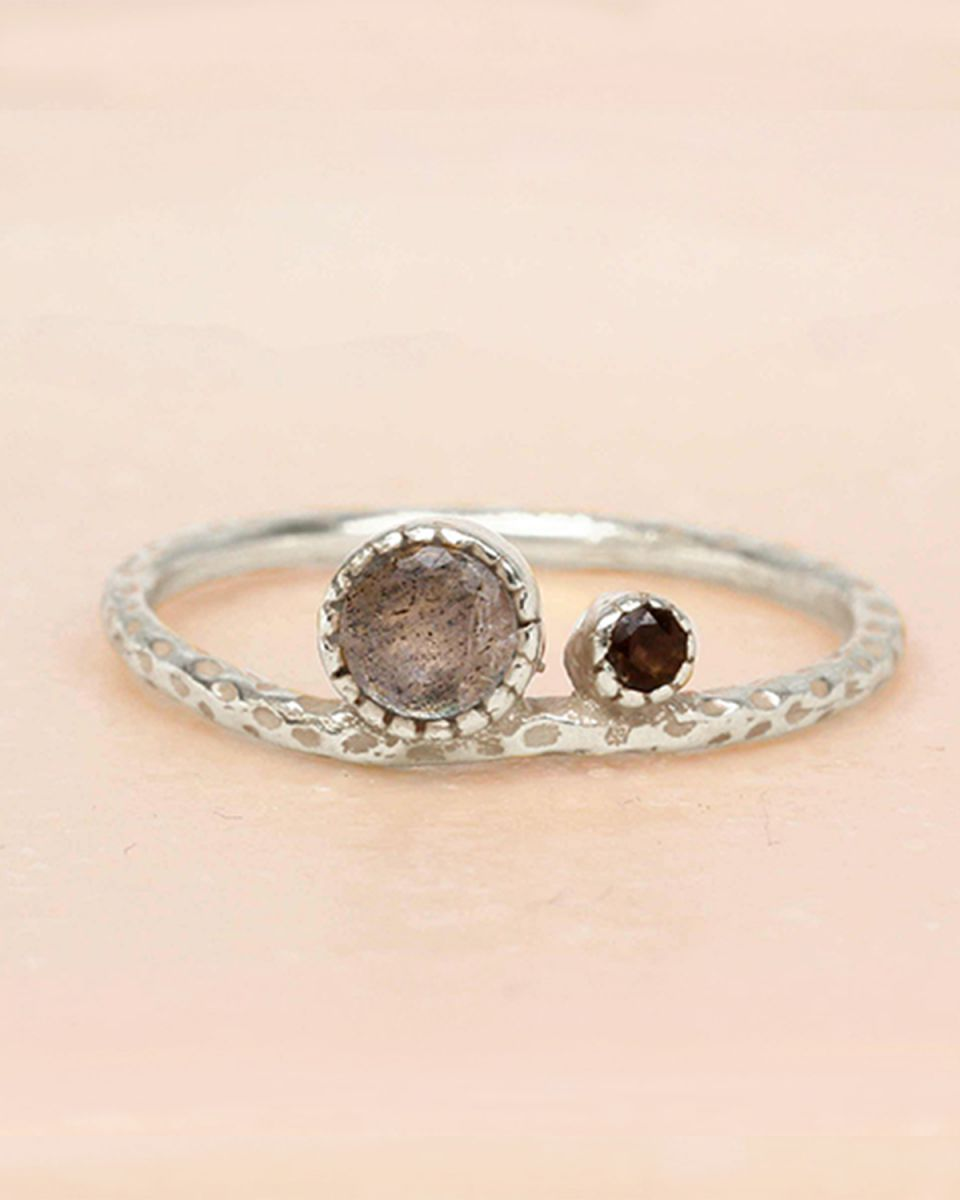 e ring size 54 labradorite and smokey quartz big and small