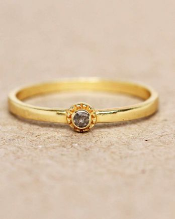 E- ring size 54 labradorite round with stone gold plated