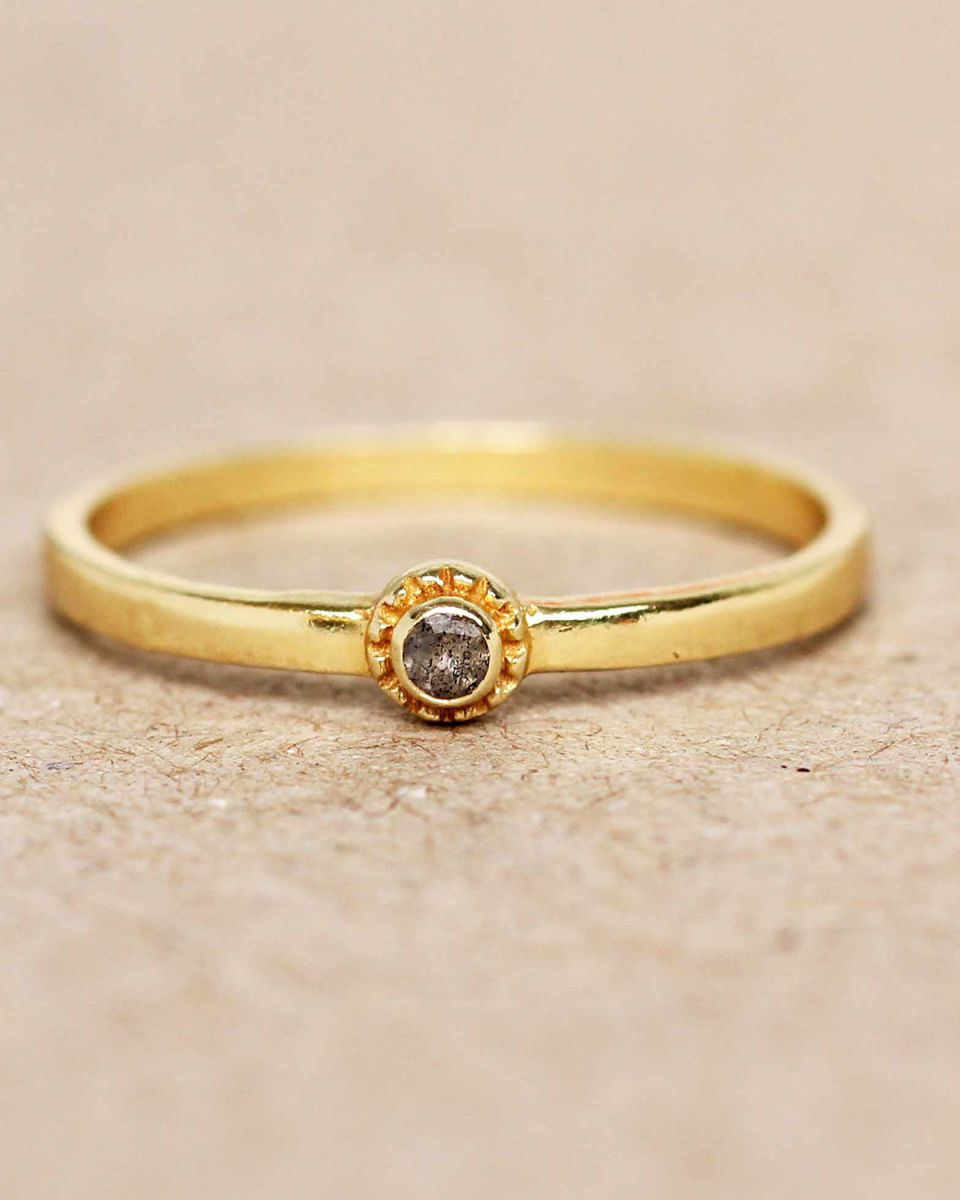 e ring size 54 labradorite round with stone gold plated