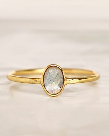 E - Ring size 54 labradorite vertical gold pl.
