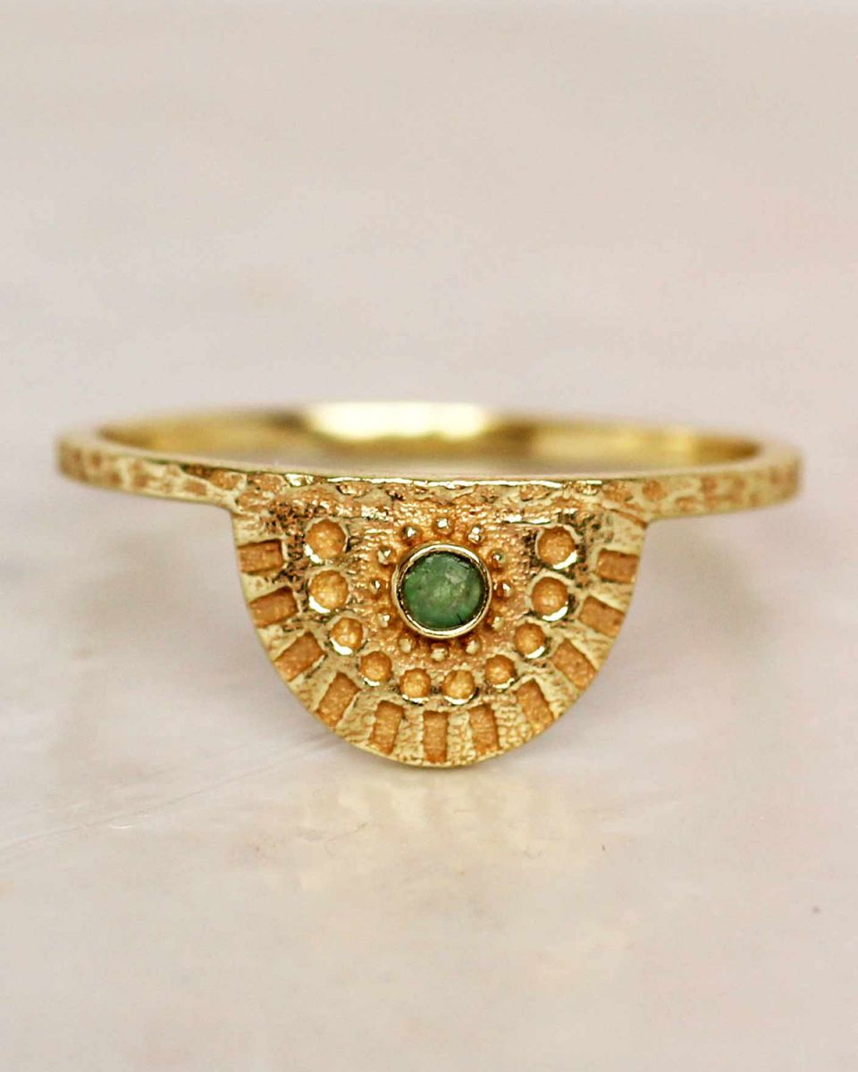 e ring size 54 nefrite half cirkel gold plated