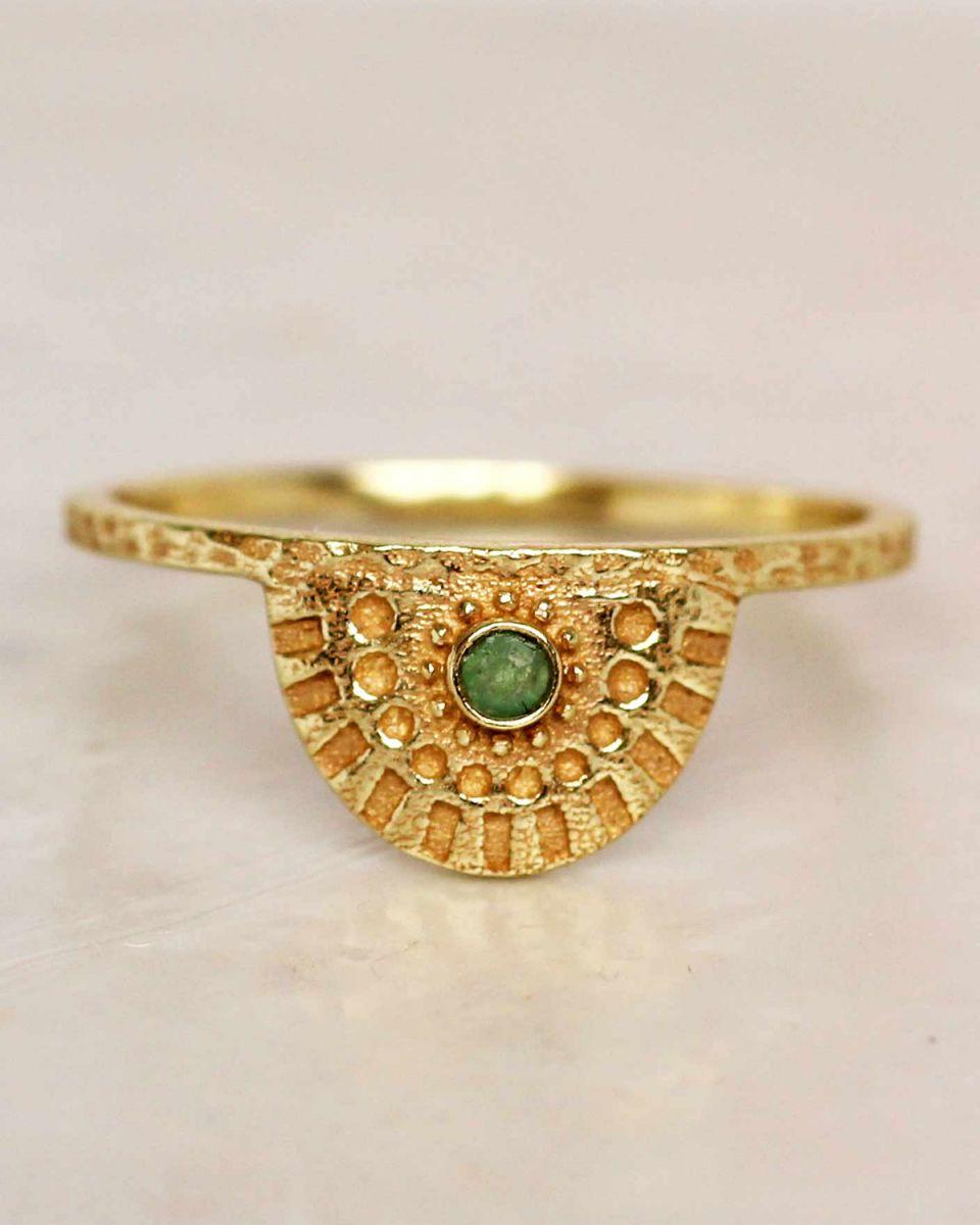 e ring size 54 nefrite half cirkel gold plated