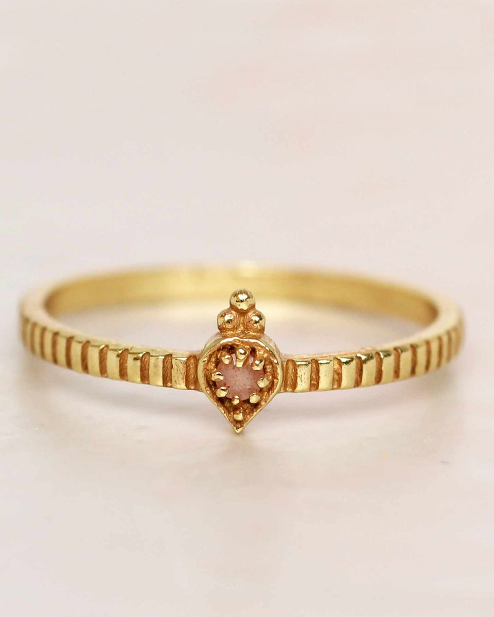 e ring size 54 peach moonstone etnic drop striped gold plat