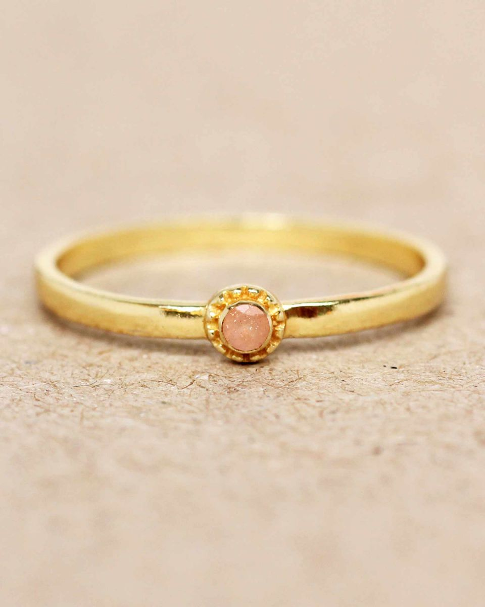 e ring size 54 peach moonstone round with stone gold plated