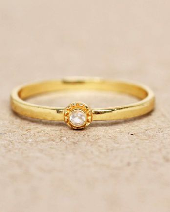 E- ring size 54 white moonstone round with stone gold plated