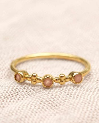E- ring size 56 2mm-flowers pink moonstone gold plated
