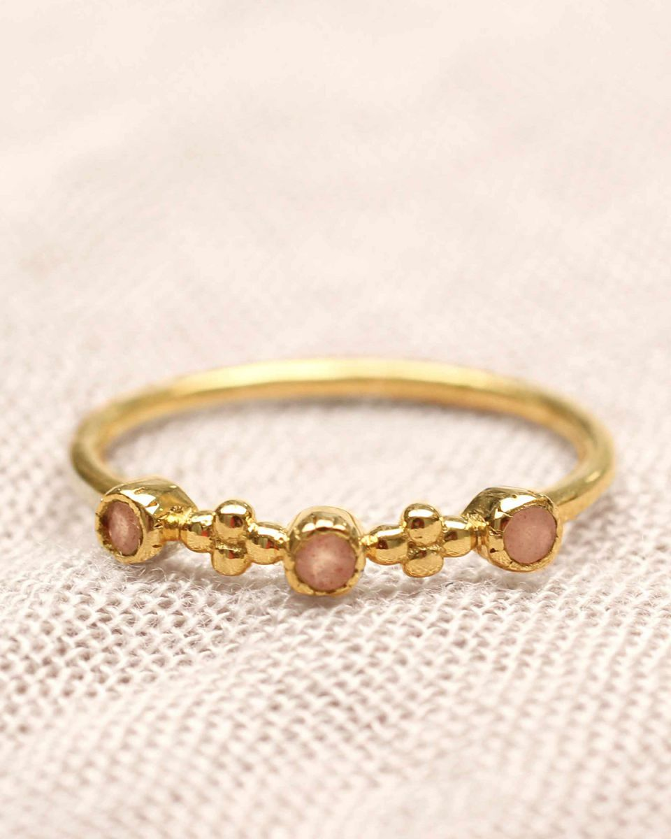 e ring size 56 2mmflowers pink moonstone gold plated