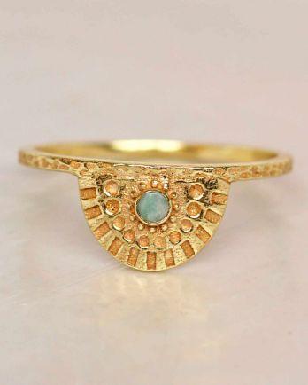 E- ring size 56 amazonite half cirkel gold plated
