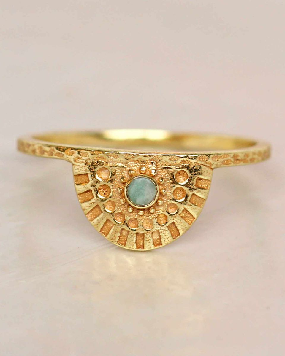e ring size 56 amazonite half cirkel gold plated