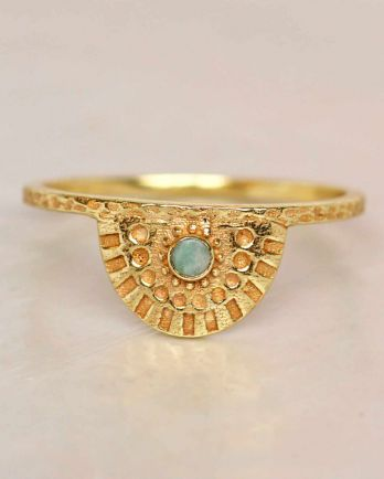 E- ring size 56 amazonite half cirkel gold plated