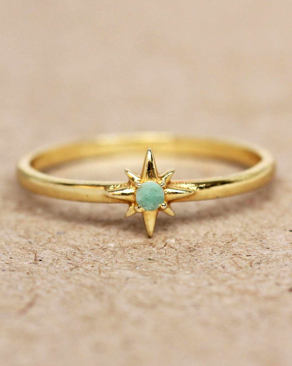 e ring size 56 amazonite star gold plated