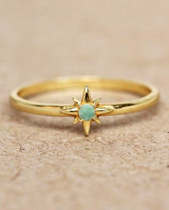 E- ring size 56 amazonite star gold plated