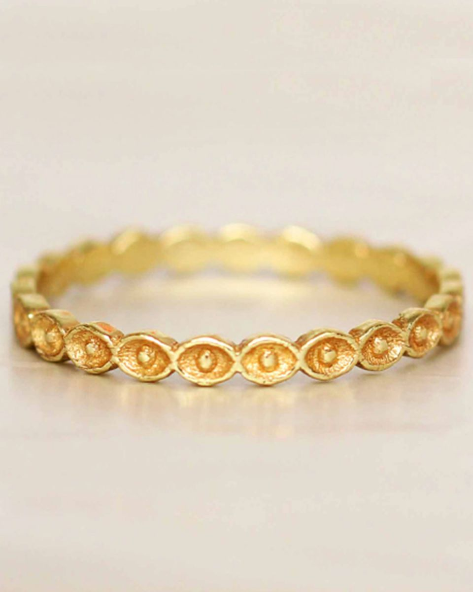 e ring size 56 eyes gold plated
