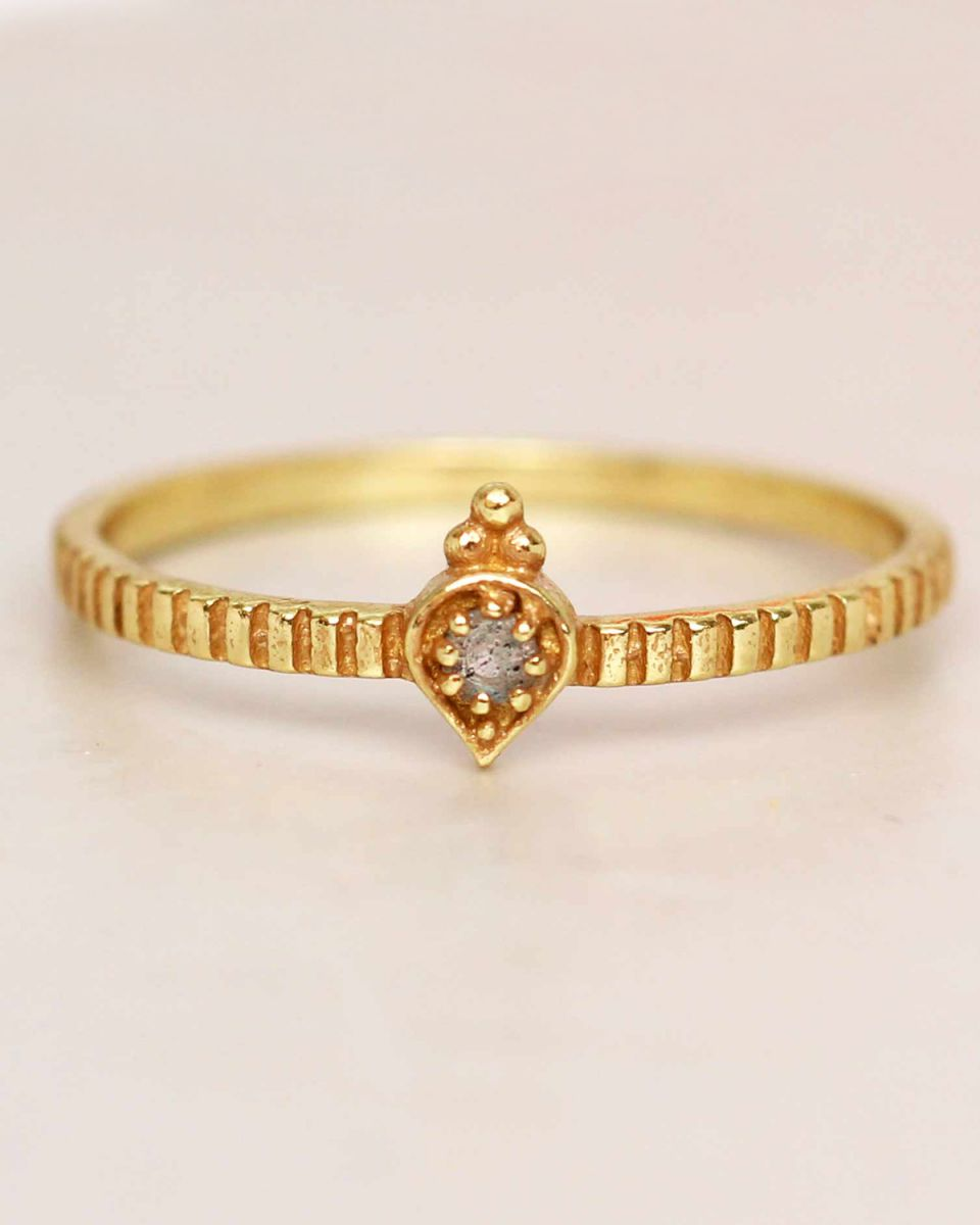 e ring size 56 labradorite etnic drop striped gold plated