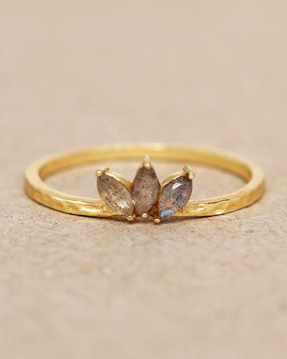 e ring size 56 labradorite three stones leave hammered gold