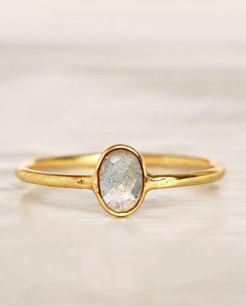 E - Ring size 56 labradorite vertical gold pl.