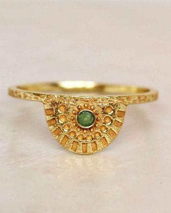 E- ring size 56 nefrite half cirkel gold plated