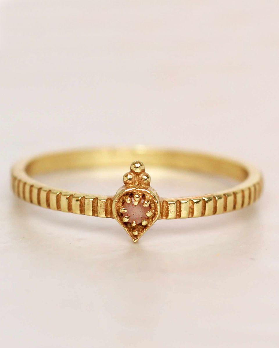 e ring size 56 peach moonstone etnic drop striped gold plat