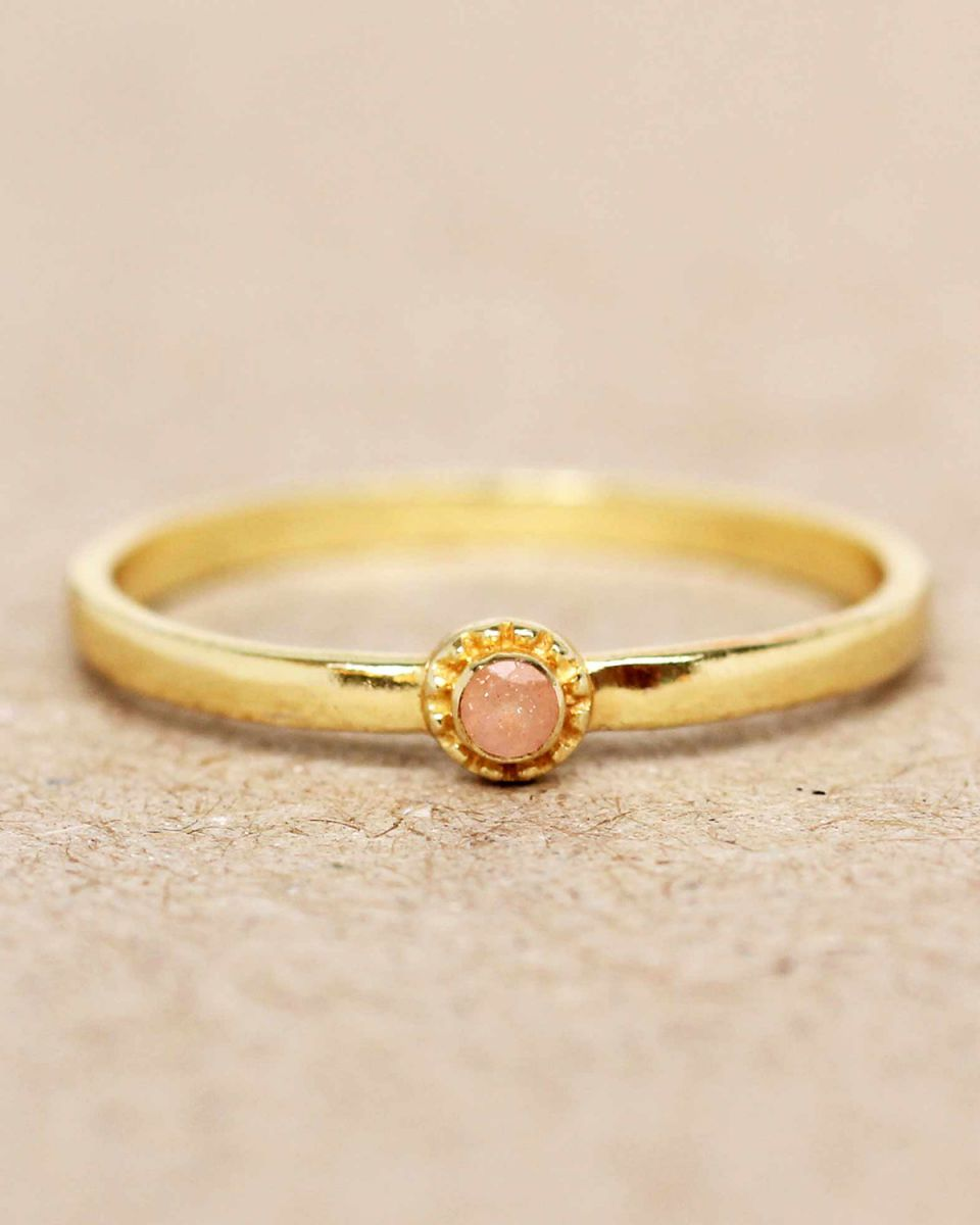 e ring size 56 peach moonstone round with stone gold plated