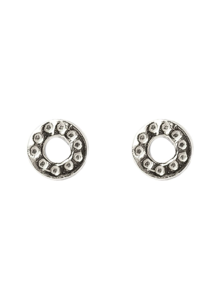 earring stud circle hammered