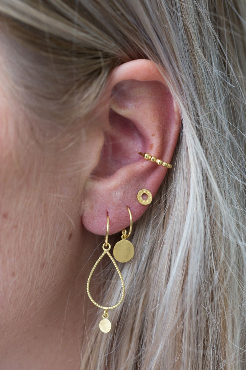 earring stud circle hammered gold plated