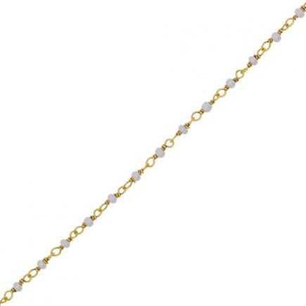 F- bracelet 1 row pearl gold plated
