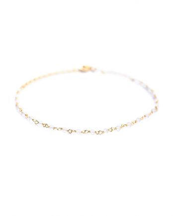 F- bracelet 1 row white moonst. gold plated