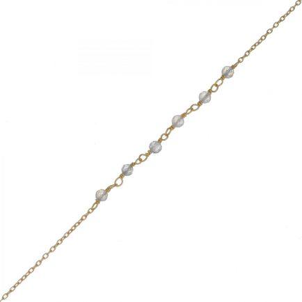 F- bracelet 3mm 5 labradorite beaded gold plated