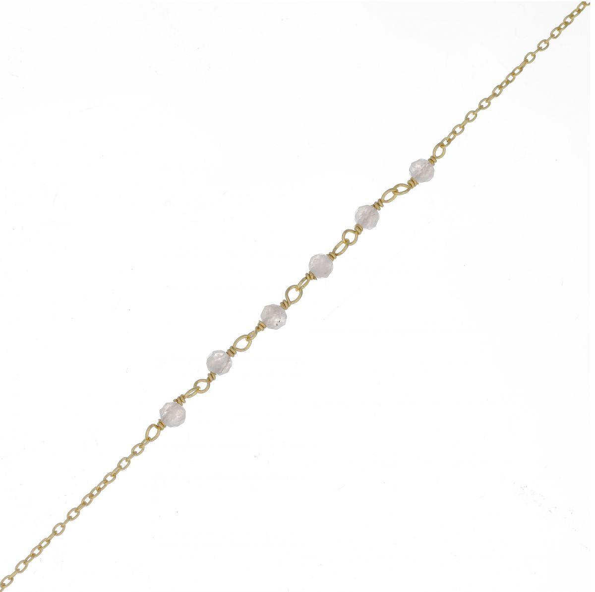 f bracelet 3mm 5 moonstone beaded gold plated