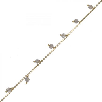 F- bracelet 3mm 8 pendants labradorite beads gold plated