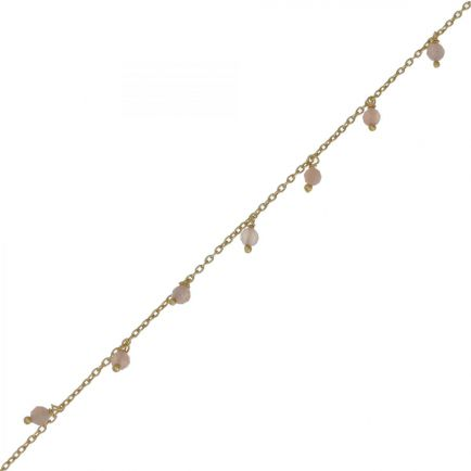 F- bracelet 3mm 8 pendants peach moonstone beads g. pl.