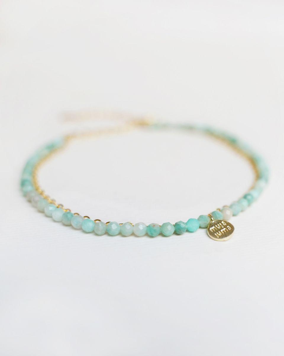 f bracelet double chain amazonite gold pl